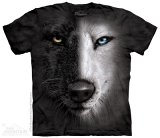 Tričko Black & White Wolf Face