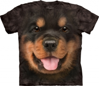 Tričko Big Face Rottweiler Puppy Dog T Shirt